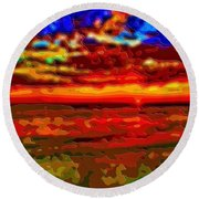 Landscape Ocean Sunset Round Beach Towel