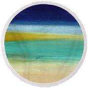 Ocean Blue 3- Art By Linda Woods Round Beach Towel