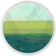 Ocean Blue And Green Round Beach Towel by Michelle Calkins
