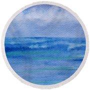 Gentle Ocean Waves -  Original Watercolor Round Beach Towel