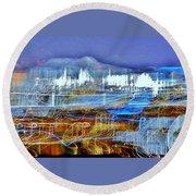 Ocean City Maryland At Night - Blue Round Beach Towel