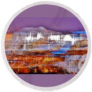 Ocean City By Night - Abstract Purple Round Beach Towel