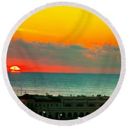 Ocean City Sunrise Over Music Pier Round Beach Towel