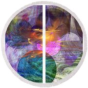 Ocean Fire - Square Version Round Beach Towel