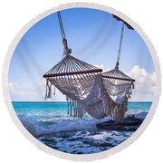 Ocean Front Hammock Round Beach Towel