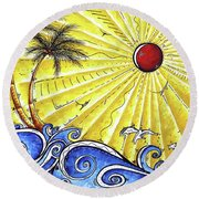 Ocean Fury By Madart Round Beach Towel