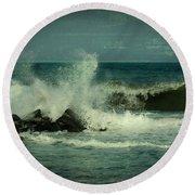 Ocean Impact - Jersey Shore Round Beach Towel