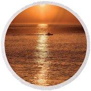Ocean Sunrise At Montauk Point Round Beach Towel