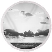 Ocean Sunrise Black And White Round Beach Towel