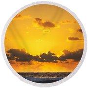 Ocean Sunrise Clouds Round Beach Towel