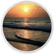 Ocean Sunrise Over Myrtle Beach Round Beach Towel