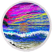 Ocean Sunset Round Beach Towel