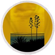 Ocean Sunset With Agave Silhouette Round Beach Towel