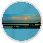 Ocean Sunset With Birds Round Beach Towel