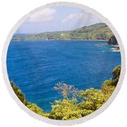 Ocean View From The Road To Hana, Maui Round Beach Towel