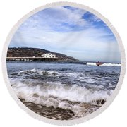 Ocean Waves Blue Sky And A Surfer At Malibu Beach Pier Round Beach Towel