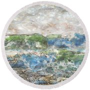 Ocean Waves Round Beach Towel