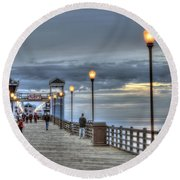 Oceanside Pier At Sunset Round Beach Towel