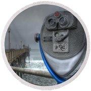 Oceanside Pier California Binocular Vision Round Beach Towel