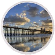 Oceanside Pier Sunset Reflection Round Beach Towel