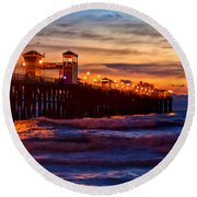 Oceanside Sunset IIi Round Beach Towel