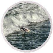 Oceanside Surfer 3 Round Beach Towel