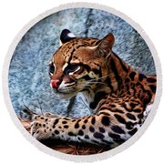Ocelot Painted Round Beach Towel