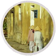 Ochre Wall 02 Round Beach Towel