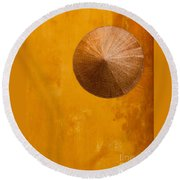Ochre Wall Conical Hat Round Beach Towel