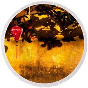 Ochre Wall Silk Lantern 01 Round Beach Towel
