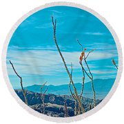 Ocotillo At Top Of Ladder Canyon With Salton Sea In Distance In Mecca Hills-ca Round Beach Towel