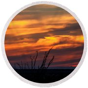 Ocotillo Sunset Round Beach Towel by Robert Bales