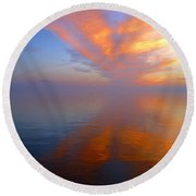 Ocracoke Nc Sunrise Round Beach Towel by Joan Meyland