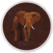 Ocre Elephant Round Beach Towel