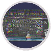 October 29 1929  Black Tuesday And The Great Depression Round Beach Towel