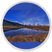 October At Oxbow Round Beach Towel