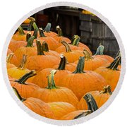 October At The Farm - Pumpkins Round Beach Towel