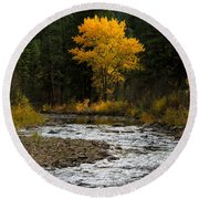 October Beauty Along Grimes Creek Round Beach Towel