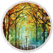 October In The Forest Round Beach Towel by Leonid Afremov