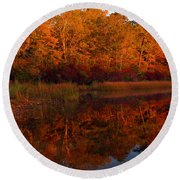 October Mirror Round Beach Towel