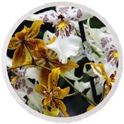 Gold And White Orchids Round Beach Towel