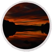 October Red Round Beach Towel