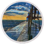October Sunset At St. Joseph Lighthouse - Simulated Oil  Round Beach Towel