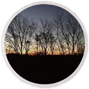 October Sunset Trees Silhouettes Round Beach Towel