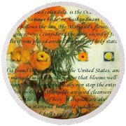 October's Child Birthday Card With Text And Marigolds Round Beach Towel