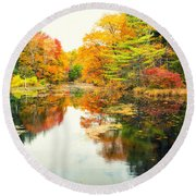 Octobers Paintbrush Round Beach Towel