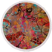 Octopus Illistration Round Beach Towel