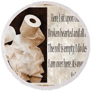 Ode To The Spare Roll Sepia 2 Round Beach Towel
