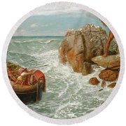 Odysseus And Polyphemus Round Beach Towel