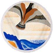 Odyssey Illustration  Bird Of Potent Round Beach Towel